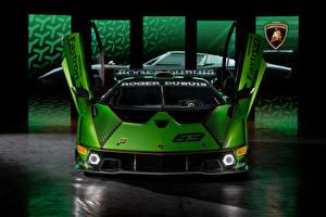 Фотография Ламборгини Спереди Зеленые Открытая дверь Essenza SCV12, 2020 автомобиль