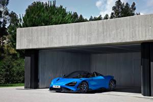 Обои McLaren Синих Металлик 765LT Spider, (Worldwide), 2021 авто