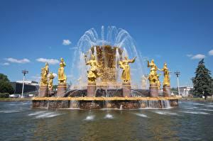 Обои для рабочего стола Москва Россия Фонтаны Скульптура Fountain Friendship of peoples, VDNH город