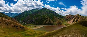 Картинки Гора Панорамная Облака Kyrgyzstan