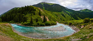 Картинки Горы Река Пейзаж Панорамная Kyrgyzstan, Chuy Province
