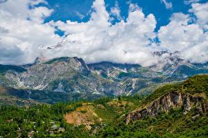 Картинки Горы Пейзаж Облако Arslanbob, Kyrgyzstan Природа