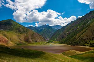 Обои Горы Пейзаж Озеро Облака Kyrgyzstan