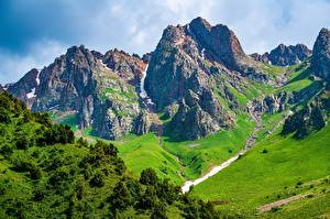 Картинка Горы Пейзаж Скалы Talas, Kyrgyzstan Природа