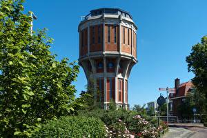 Обои Нидерланды Дома Башня Leiden Города картинки