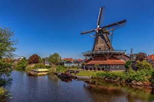 Фотографии Голландия Дома Ветряная мельница Водный канал Meppel