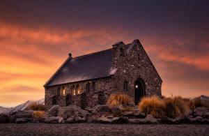 Фотография Новая Зеландия Вечер Церковь Старый Каменные Good Shepherd