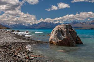 Обои Новая Зеландия Горы Озеро Камень Облака Lake Pukaki Природа