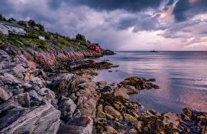 Картинки Норвегия Побережье Лофотенские острова Камни