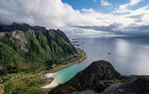 Фото Норвегия Лофотенские острова Побережье Гора Облака
