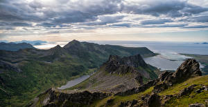 Картинка Норвегия Лофотенские острова Гора Берег Облако Laukvik Природа