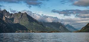 Картинка Норвегия Лофотенские острова Горы Облачно Фьорд Digermulen