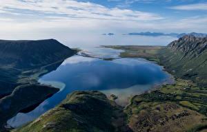 Картинки Норвегия Лофотенские острова Гора Фьорд