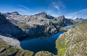 Обои Норвегия Лофотенские острова Гора Озеро Reine