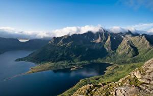 Фото Норвегия Лофотенские острова Гора Облака Liland