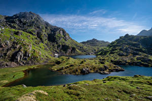 Картинки Норвегия Лофотенские острова Гора Sommarset Природа