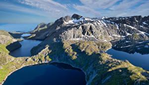 Обои Норвегия Гора Лофотенские острова Озеро Reine