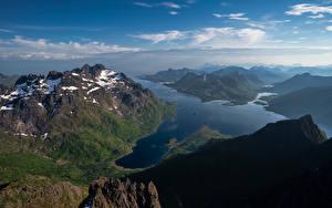 Картинка Норвегия Гора Лофотенские острова Фьорд Laupstad Природа