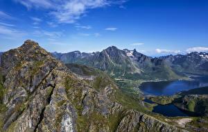 Фотография Норвегия Горы Лофотенские острова Фьорд Laupstad
