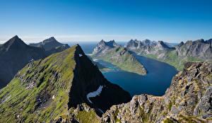 Картинки Норвегия Горы Лофотенские острова Фьорд Munken Природа