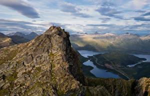 Картинки Норвегия Гора Лофотенские острова Облако Myrland