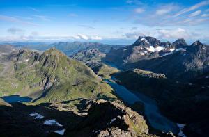 Картинки Норвегия Гора Лофотенские острова Фьорд Trollfjord
