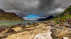 Фото Норвегия Гора Камни Облако Uttakleiv beach Природа