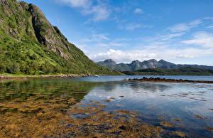 Картинка Норвегия Гора Фьорд Troms, Grunnfjorden Природа