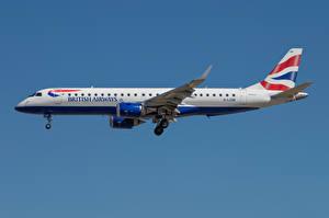 Фотографии Самолеты Пассажирские Самолеты Сбоку Embraer ERJ-190, BA CityFlyer