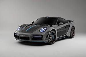 Обои Порше Серые 911 Turbo S Stinger GTR 3.0, 2021 авто