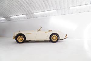 Обои Винтаж Кабриолет Сбоку Белая Металлик 1958 Austin Healey 100-6 Goldie машины