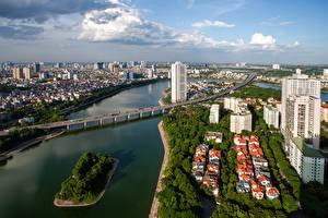 Картинки Речка Мосты Вьетнам Дома Hanoi, Hong River