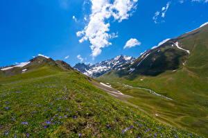 Фотографии Россия Гора Парк Облака Teberda national park, Dombay