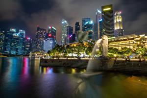 Фотографии Сингапур Парк Дома Реки Скульптуры Вечер Merlion Park город