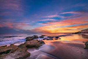 Обои Испания Берег Рассветы и закаты Камень Andalusia Природа