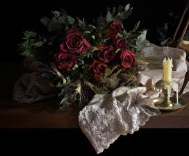 Фотографии Натюрморт Роза Свечи Темно красный Сухие цветок