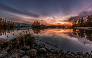 Фотография Рассветы и закаты Река Камни Природа