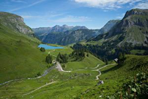 Фотографии Швейцария Горы Озеро Альп Muotathal