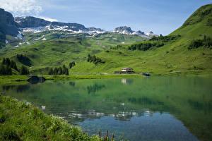 Картинка Швейцария Горы Озеро Альп Muotathal, Waldisee