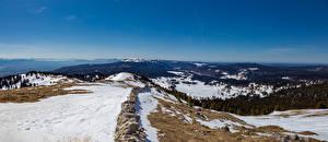 Фото Швейцария Горы Панорамная Альпы Снег La Dôle Природа