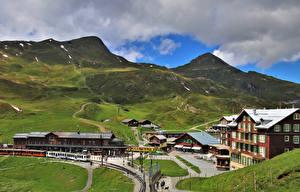 Картинки Швейцария Гора Железные дороги Поезда Альпы Jungfrau