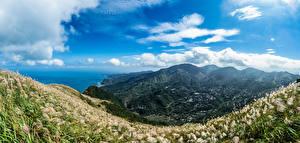 Фотографии Тайвань Гора Берег Небо Облака Долина Keelung Mountain