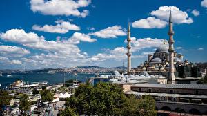 Фото Турция Стамбул Мечеть Облачно город
