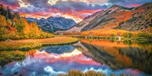 Фотографии Штаты Осень Гора Озеро Облако Отражении Bishop Creek