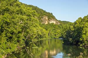 Фотографии Штаты Леса Река Скале Missouri Ozarks