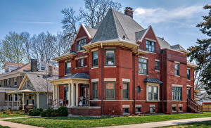 Обои Штаты Здания Особняк Дизайна Franklin Square Historic District, Bloomington, Illinois