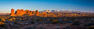 Фото Штаты Панорама Пейзаж Парки Скала Arches National Park, Utah