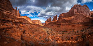 Фотография Штаты Парки Скала Облака Arches National Park