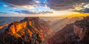 Фотография США Парк Гранд-Каньон парк Утес Облака Каньон Природа