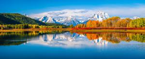 Обои США Парк Горы Осенние Озеро Пейзаж Панорамная Grand Teton National Park